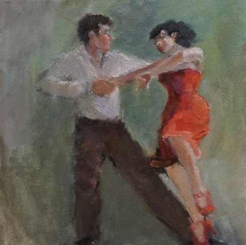 Connie Chadwell; Tango In Greens And Orange, 2018, Original Painting Oil, 10 x 10 inches. Artwork description: 241  Connie Chadwell, oil, tango dancers, figurative, greens, red, orange, couple dancing tango with the woman wearing a red dress with orange highlights, she has her knee up a little and the man is holding her hand...