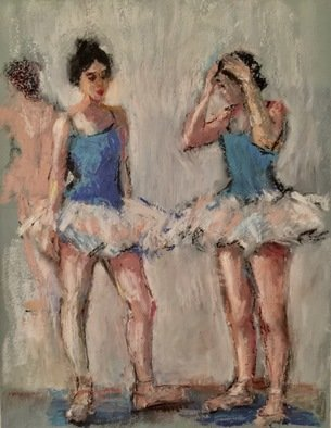 Connie Chadwell; Ballerinas Conversation, 2018, Original Pastel Oil, 9 x 12 inches. Artwork description: 241 Connie Chadwell, oil pastel, ballerinas, dancers, limited palette, ballet, two young ballet dancers are talking with each other with one has both hands on her head as if she has forgotten something...