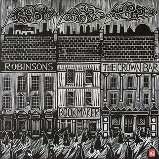 Conor Maguire; Belfast Life, 2009, Original Printmaking Woodcut, 30 x 30 cm.