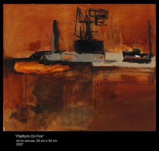 Agnieszka Ledochowska; Platform On Fire , 2007, Original Painting Oil, 65 x 54 cm. Artwork description: 241  my latest  fascination of oil platforms , cranes machines and dark landscapes . ...