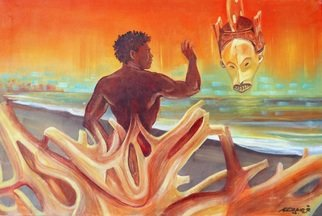 Arnold Grace Jr; Rising Youth Seeks Ancien..., 1993, Original Painting Oil, 36 x 24 inches. Artwork description: 241 ARCHIVAL MATT PAPER PRINTS- $80. original fineart painting, impressionism, fine art, surrealist painting, surrealism, arnold grace fine art, african art themes, african mask, driftwood on beach, youth, young man, dream scape art, arnold victor grace jr, figurative art, surrealistic art, sea scape, sunset art, ...