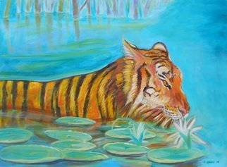 Arnold Grace Jr; Wading Tiger, 2009, Original Painting Acrylic, 40 x 30 inches. Artwork description: 241  river scene, country scene, expressionism, impressionism, impressionistic artist, fine artist, arnold victor grace jr, arnold grace fine art, beautiful painting, art collectors, collectors art, art sale, painting sale, art scenes, waterfall art, landscape painting, beautiful tiger, wild life art, tiger swimming,wild life painting, international art, international ...