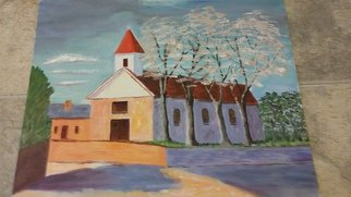 Catherine Rann; Church In Autumn, 1994, Original Painting Acrylic, 21 x 15 inches. Artwork description: 241 Painting Acrylic SimplisticChurch In Autumn Christian Catholic Religious Seasional ...