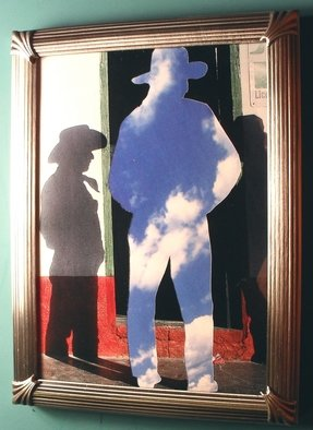 Paul Cooper, Magritte Cowboy, 2010, Original Collage, size_width{Magritte_Cowboy-1269196627.jpg} X 8 x  inches