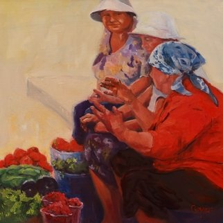 Karen Cooper, Vegetable sellers the corne..., 2016, Original Painting Oil, size_width{vegetable_sellers_the_corner-1489989862.jpg} X 27.5 x  inches