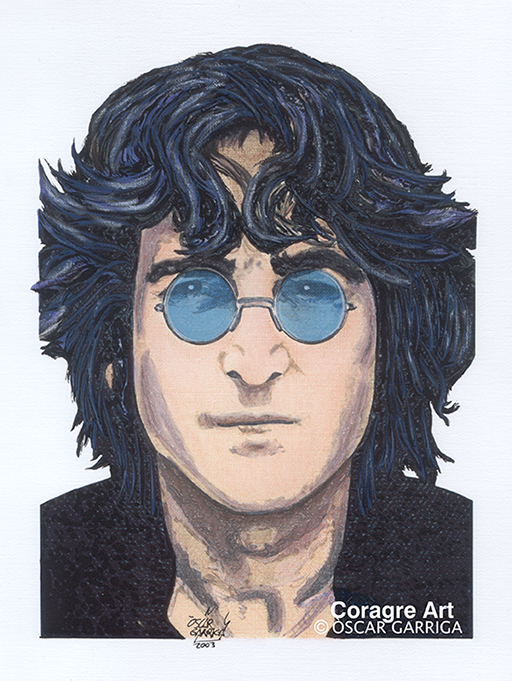 Oscar Garriga; John Lennon, 2003, Original Digital Art, 21 x 30 cm. Artwork description: 241 music rock pop lennon mixed media drawing digital art portrait...