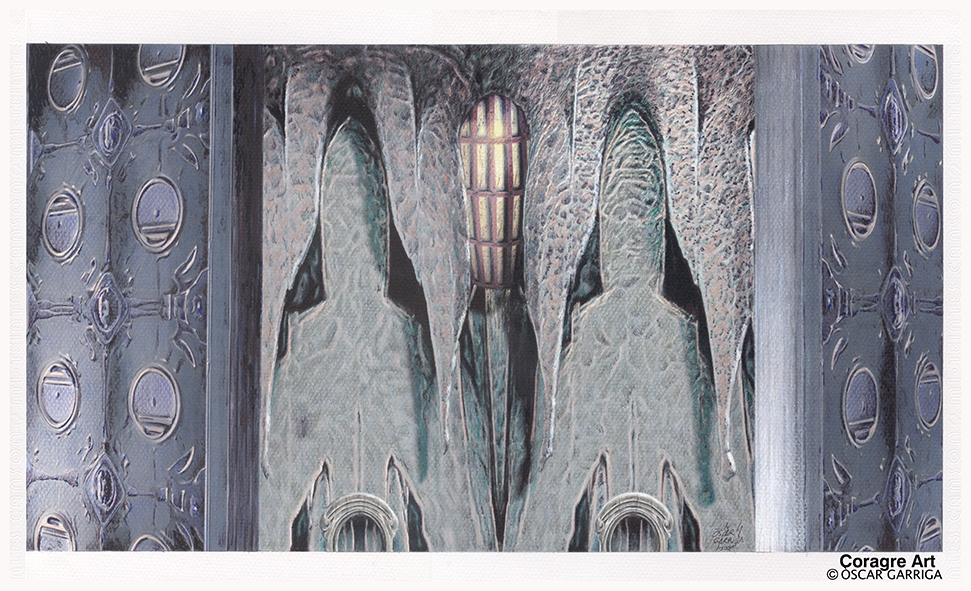 Oscar Garriga; R Lyeh, 2001, Original Mixed Media, 50 x 30 cm. Artwork description: 241 Mixed media drawing on paper...