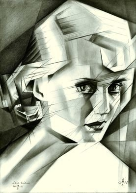 Corne Akkers; Sans titre, 2016, Original Drawing Pencil, 21 x 29.7 cm. Artwork description: 241  Bette Davis celebrity actress cubism drawing graphite clair obscur ...