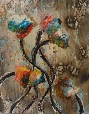 Edward Bolwell; Flowers In The Rain, 2017, Original Painting Other, 25 x 31 cm. Artwork description: 241 Acrylic on MDF...