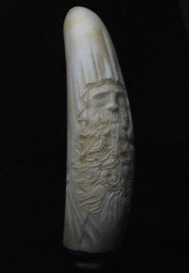Jim Stevens; Wizard, 2001, Original Sculpture Other, 1 x 5 inches. Artwork description: 241 Mammoth ivory sculpture on black alabaster stand....