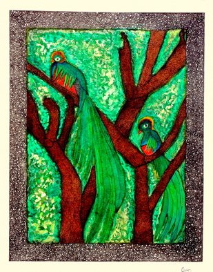 Chary Castro-Marin; La Realeza De La Naturaleza, 2010, Original Mixed Media, 40 x 50 cm. Artwork description: 241  Quetzales imaginarios adornando el paisaje. . . hechos con Acrilico y tinta india sobre papel. ...