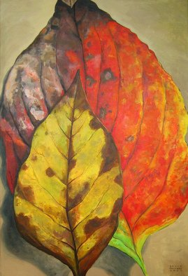 David Cuffari; Leaves, 2008, Original Painting Acrylic, 24 x 36 inches. Artwork description: 241  Two autumn leaves. I love autumn leaves with all their colors and blotches. To me they represent a protective mother and her awkward child. Oh well, I tend to ascribe human attributes to everything.     ...