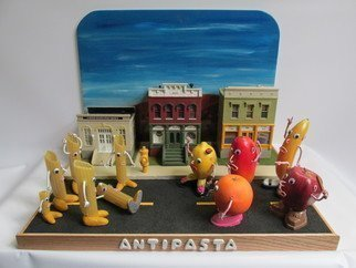 Bill Czappa; Antipasta, 2016, Original Sculpture Other, 28 x 18 inches. Artwork description: 241 So I like to make a piece based on a word or a pun. So what would anti pasta be  Fruit fighting pasta. It is also inspired by the recent racial issues in the news. Imn the buildings I have ARC Art Gallery, the pasta works and ...
