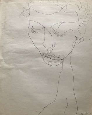 Bryan Mcfarland; Beauty, 1996, Original Drawing Pen, 18 x 23.5 inches. Artwork description: 241 Blind contour sletch drawing in pen. ...