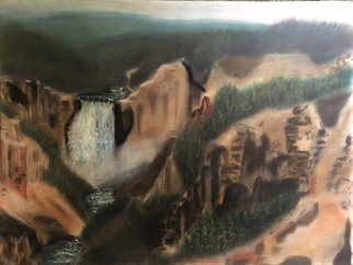 Bryan Mcfarland; Canyon, 2000, Original Pastel Oil, 17 x 13 inches. Artwork description: 241 A pastel of the Upper Falls in the Yellowstone Grand Canyon. ...