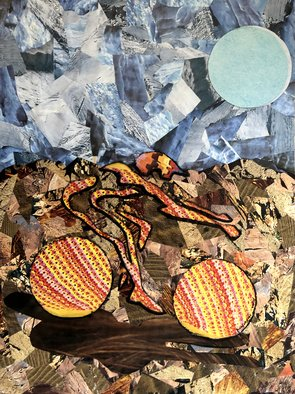Bryan Mcfarland; Flow, 2002, Original Collage, 8 x 10.7 inches. Artwork description: 241 An abstract figurative collage of a mountain biker. ...