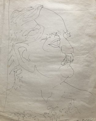Bryan Mcfarland; Larry, 1998, Original Drawing Pen, 18 x 23.5 inches. Artwork description: 241 Blind contour ink sketch of a man. ...