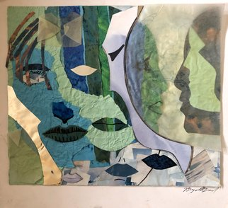 Bryan Mcfarland; Memories, 1998, Original Collage, 13 x 12 inches. Artwork description: 241 Collage of abstract facial features of women. ...