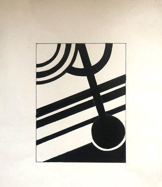 Bryan Mcfarland; Time, 1996, Original Illustration, 11 x 14 inches. Artwork description: 241 An abstract black ink illustration. ...