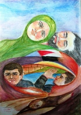 Khalil Dadah; Vertigo, 2003, Original Watercolor, 35 x 50 cm. Artwork description: 241  In ppeace negotiation, in the middle east, nothing comes out, and Palestinian people are left to move around without rest! !     ...