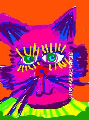 Katie Pfeiffer; Cat Head, 2014, Original Computer Art, 11 x 14 inches. Artwork description: 241         This is  an original digital image  created  entirely  on the computer.   (c) Katie Pfeiffer 2014All Rights ReservedPrints available                                                             ...