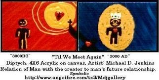 Michael Jenkins; 3000BC 3000AD, 2007, Original Painting Acrylic, 0.6 x 0.4 inches. Artwork description: 241  Story of the whole Bible in diptych. ...