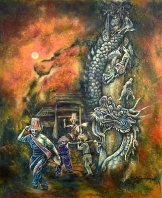 Jian Yu Jhuang; Dragon Pillar, 2020, Original Painting Oil, 61 x 73 cm. Artwork description: 241 Dragon Pillar...
