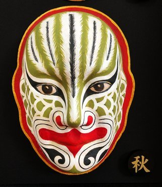 Jian Yu Jhuang; Exorcism Mask, 2014, Original Painting Oil, 19 x 26 cm. Artwork description: 241 A totem of the face is dapeng bird .His mission is able to get rid of evil.The mask is the symbol of good luck.He is guarding a forever home for people. ...