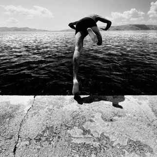 Mitia Dedoni; The Diver, 2011, Original Photography Black and White, 100 x 100 cm. Artwork description: 241  fine art paper Epson HotPress Bright 100% cotton, author signed and digigraphie certified.Limited Edition 1/ 25    ...