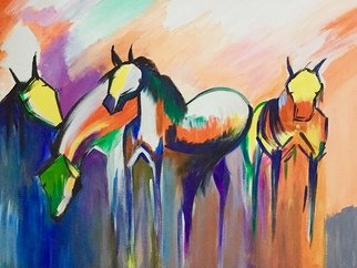 Damini Grover; Four Horses, 2018, Original Painting Acrylic, 83 x 68 cm. Artwork description: 241 Contemporary abstract painting of four running horses. ...