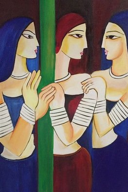 Damini Grover; Three Ladies, 2016, Original Painting Acrylic, 68 x 98 cm. Artwork description: 241 The three ladies are signifying old times, when life was simple and household was the priority of each woman. ...