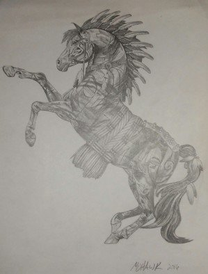 Matthew Lannholm; Apache Spirit Horse, 2016, Original Drawing Pencil, 8.5 x 11 inches. Artwork description: 241 Freehand drawing of a statuette I liked. It took me about 14 hours to finish...