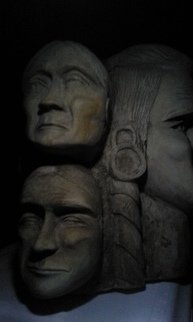 John Gartman; native american cheifs, 2017, Original Sculpture Limestone, 20 x 20 inches. Artwork description: 241 The founding fathers of America...