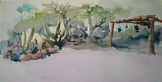 Daniel Clarke, 'My Backyard', 2000, original Watercolor, 30 x 12  x 1 inches. Artwork description: 9831 My Backyard is part of the Artist' s California Scenes series of paintings...