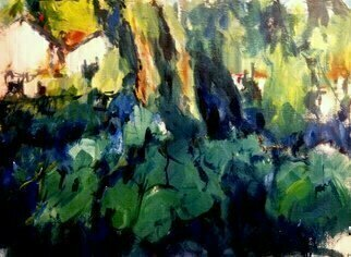 Daniel Clarke, 'Near Hampton Road', 2017, original Painting Acrylic, 16 x 12  inches. Artwork description: 3495 Near Hampton Road Virginia a backyard acrylic painting showing through a  green forest lovely bucolic ...