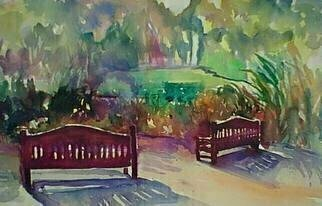 Daniel Clarke, 'Two Chairs In The Park', 2003, original Watercolor, 20 x 15  inches. Artwork description: 9831 Two Chairs in the Park is part of the Artist' s Los Angeles Park Scenes series...