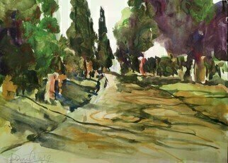 Daniel Clarke; Appian Way Near Rome, 2019, Original Watercolor, 15 x 11 inches. Artwork description: 241 Appian Way all roads lead to Rome.Your walls have crumbled down to dustYour memory s in decayWhile time records your earthly lustwith statues by the wayFragmented pieces of the pastlives of another dayOh, have you found your peace at last...