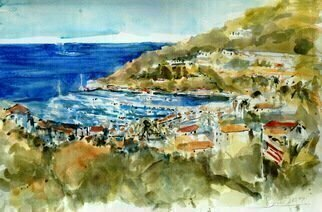 Daniel Clarke, 'Avalon From The North', 2017, original Watercolor, 18 x 12  x 0.1 inches. Artwork description: 4683 Santa Catalina Island Avalon view from the north the vista of island loveliness...