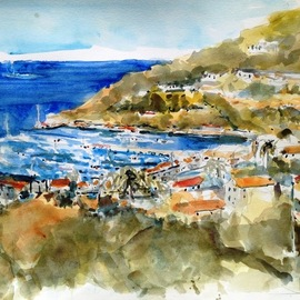 Daniel Clarke, , , Original Watercolor, size_width{avalon_from_the_north-1506901515.jpg} X 12 inches