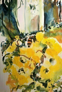 Daniel Clarke, 'Backyard Bumblebee', 2020, original Watercolor, 12 x 18  x 0.1 inches. Artwork description: 3099 Bumblebee, BumblebeeNectar pollen and wiggle- dance,Tear off the shirt and pants,Without it IaEURtmm incomplete,Rotting in self- defeat,Awashed in a wild sea,Bumblebee, BumblebeeBuzzinaEURtm so high and flyinaEURtmHoneycomb drunken Mayan,Falling west, rising east,The party will not surcease,While ...