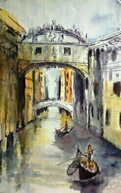 Daniel Clarke, 'Bridge Of Sighs', 2018, original Watercolor, 12 x 18  x 0.1 inches. Artwork description: 4683 The Bridge of Sighs has become a symbol of love in a city that drips with romance. . It s said that if a couple in a gondola kisses as they pass under the bridge at sunset as the bells of St. Mark s toll, their love will ...