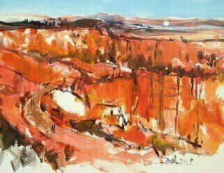 Daniel Clarke, 'Bryce Canyon Vista', 2019, original Painting Acrylic, 24 x 18  x 0.2 inches. Artwork description: 3495 On a rim- ledge of Bryce CanyonBeauty lives againFar from cries cacophonousAnd the woes of men.Color in a sweep of sound andInarticulate,Raises spired against mankindA rocky parapet.Bryce Canyon is a drive to get there but worth every mile, just ...