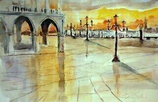Daniel Clarke; doges palace st marks square, 2018, Original Watercolor, 18 x 12 inches. Artwork description: 241 Painting: Watercolor on Paper.St Mark s Square, is the principal public square of Venice, Italy, where it is generally known just as la Piazza  the Square . At the end of Doge s Palace the evening sun kisses the square and reminds us of the beauty of ...