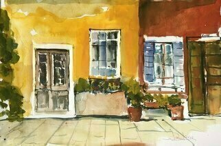Daniel Clarke, 'Doors And Windows Majorca', 2020, original Watercolor, 22 x 15  x 0.1 inches. Artwork description: 1911 The woman in the hotel poolswam in steady lengths,mindless of the Mediterranean,the yellow sun on harbor walls,the dance of docked white yachts.Mindless as well of my gin and tonic,or Robert Graves, buriedin the thick crust of Deya.Her blond hair ...