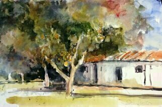 Daniel Clarke; edge of the california park, 2018, Original Watercolor, 18 x 12 inches. Artwork description: 241 Painting: Watercolor on Paper.On the edge of the California Park lies the fruit trees and buildings worthy of a summer afternoon visit ...