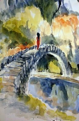 Daniel Clarke; eternal gaze scottish bridge, 2018, Original Watercolor, 12 x 18 inches. Artwork description: 241 On the Scottish Bridge our heroine gazes into the eternal distance with nature touching her red dress ever so lightly.Watercolor on paper...