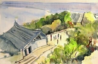 Daniel Clarke; fukuoka castle courtyard, 2018, Original Watercolor, 18 x 12 inches. Artwork description: 241 Ah yes the Fukuoka Castle courtyard draws all sort of folks. . . . . . . . . . . . . . . . including our Lady in Red ...
