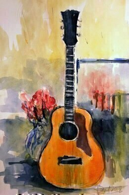 Daniel Clarke; guitar, 2018, Original Watercolor, 12 x 18 inches. Artwork description: 241 As I play the blues on my acoustic Gibson guitar it takes me back to those train track blues The heart and soul of Slash and his crew Les Paul and Gibson the true train track blues Guitar. . . . . . . . . . . . . . watercolor on paper...