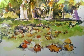 Daniel Clarke; Hyde Park Autumn, 2019, Original Watercolor, 18 x 12 inches. Artwork description: 241 Summer by The Serpentine, Walking wide and lonely forking trailsPassing summer games with unknown namesWith flags flying tied to stirring trees, Fifty stars and stripes riding in the breezePlaying with the Union Jack, I fall back And I sit a while on the wooden ...