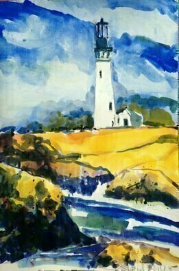 Daniel Clarke; Lighthouse Northern Main, 2019, Original Watercolor, 12 x 18 inches. Artwork description: 241 I think at heart I am a lighthouse keeperI love the seaor rather seeing the seaBut for me I like to be in the lighthouse keepFace to the sea and light at my backMy shadow thrown large over the open waterOn ...